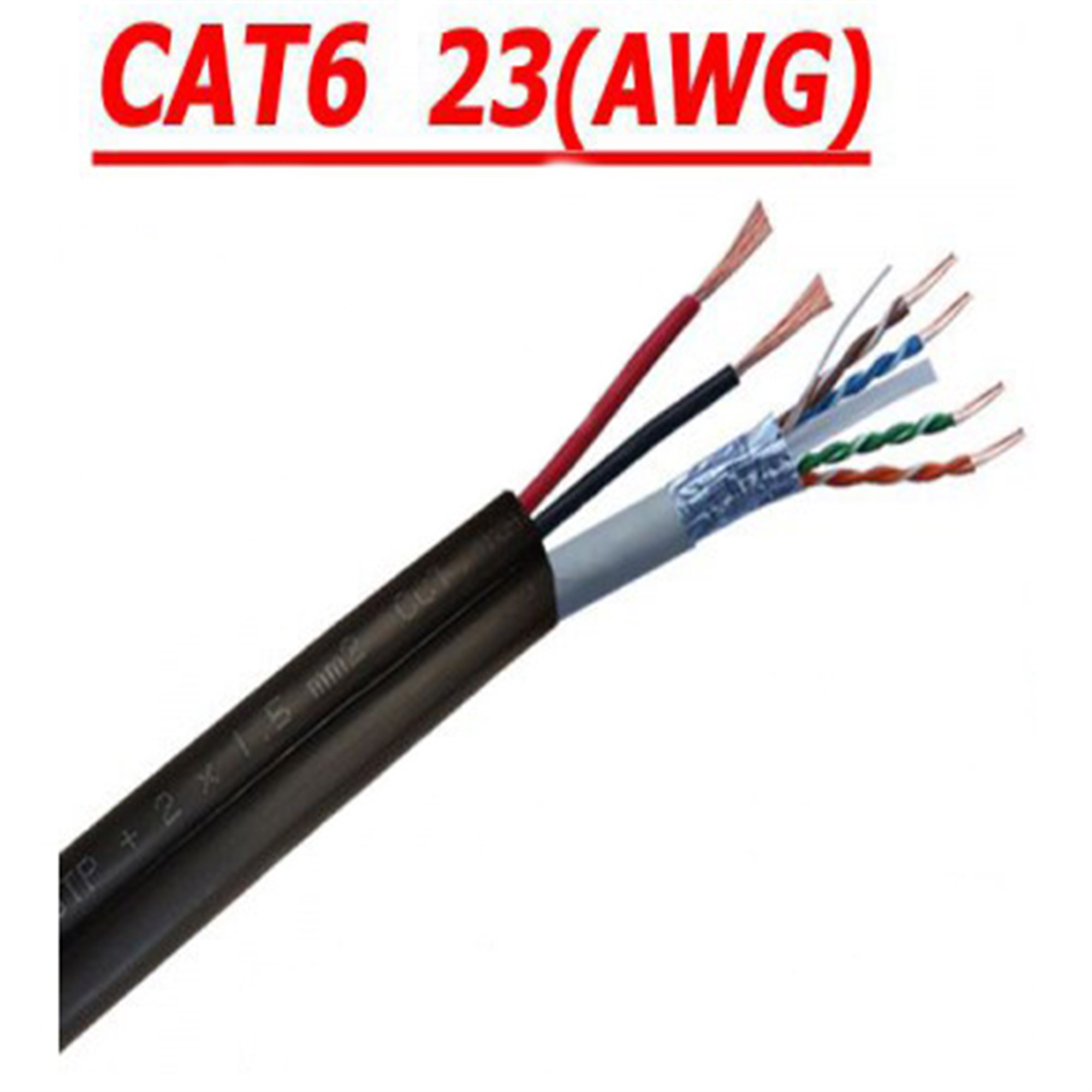 500 MT CAT 6 23AWG FTP + 2x1,5mm DUAL CCTV PE NETWORK CABLE